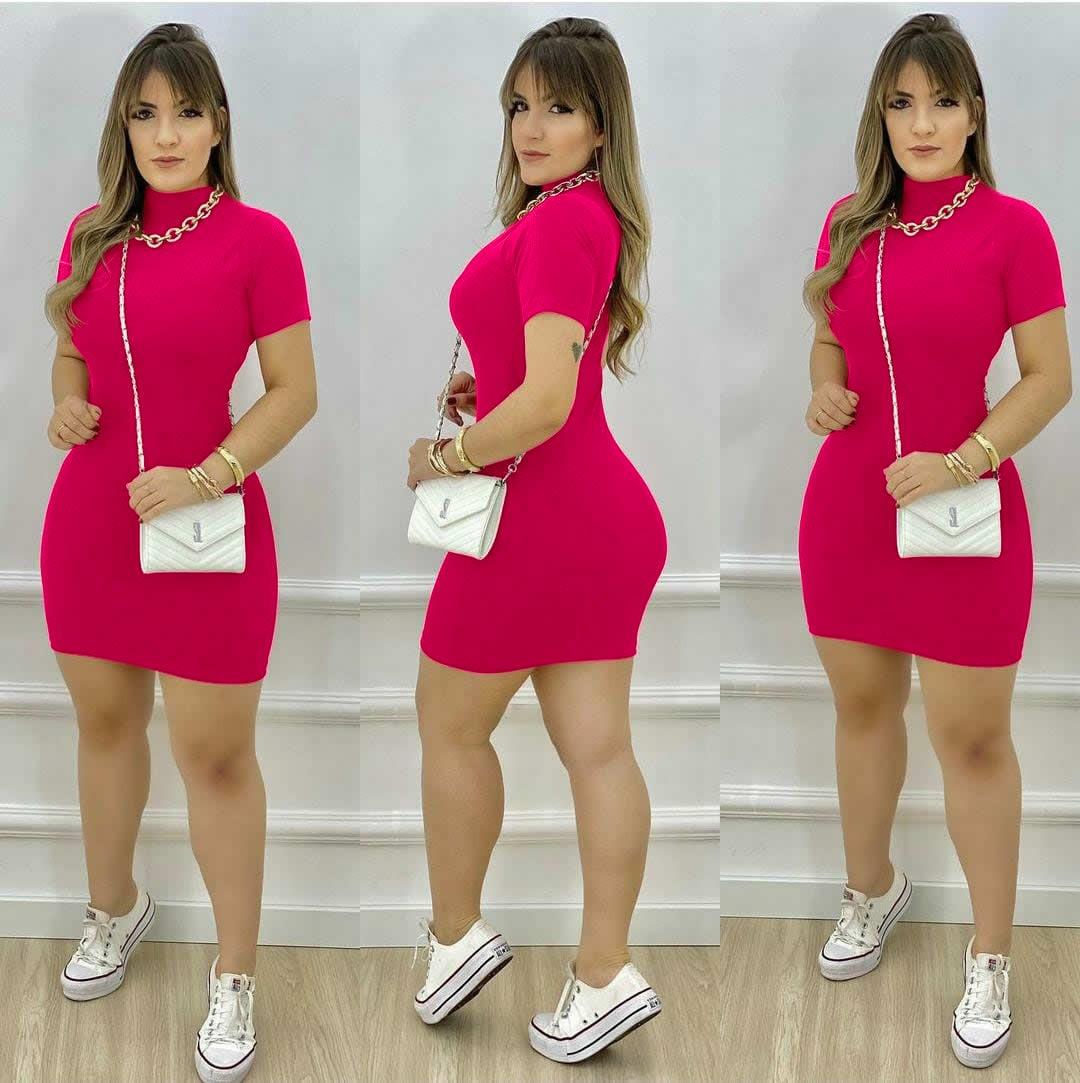 Vestido de Festa Curto Gola Pink