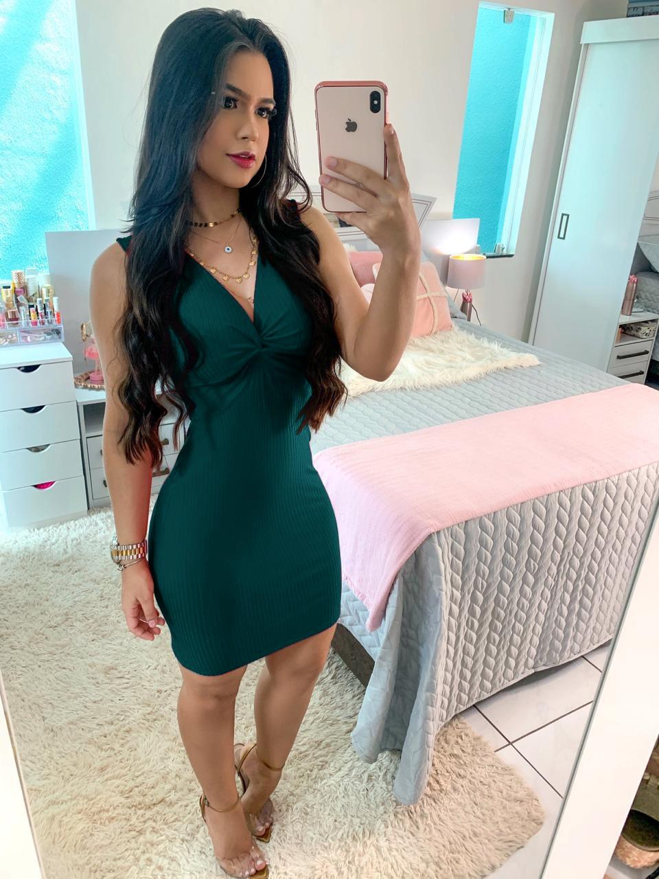 Vestido Decote Canelado Verde Jade
