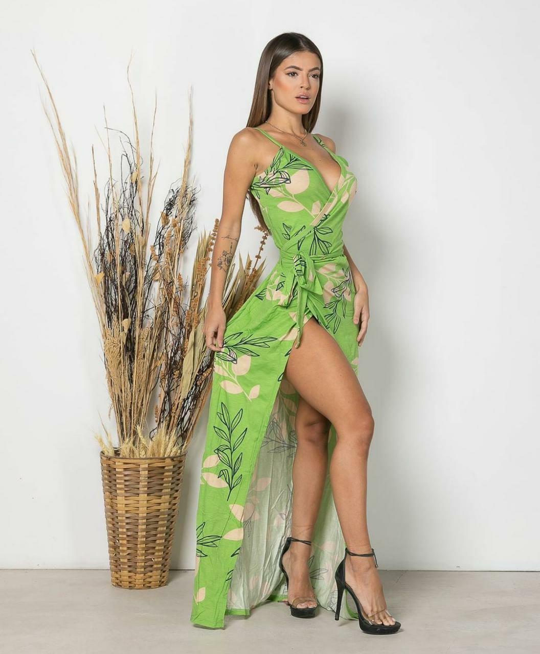 Vestido Envelope Longo Flores