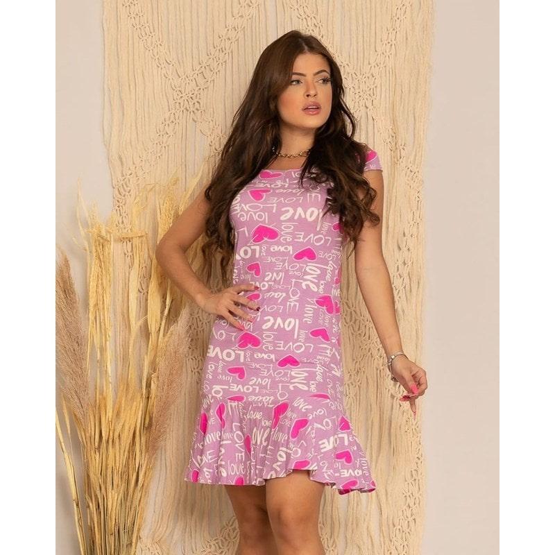 Vestido Estampado Curto Tancinha Rosa