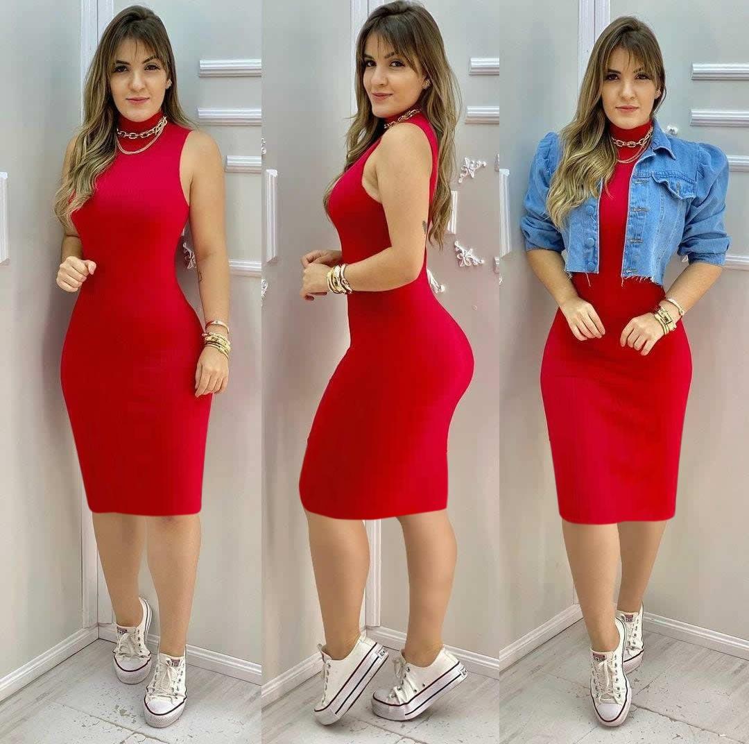 Vestido Midi Canelado com Gola Vermelho