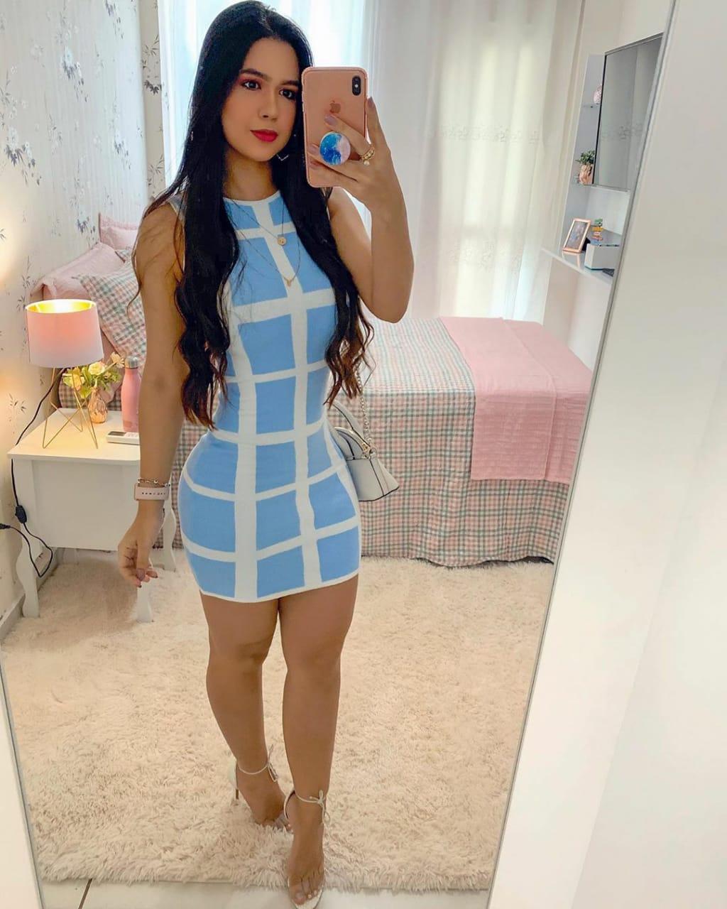Vestido Tricô Modal Azul