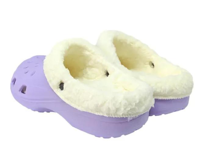 Babuche lilás forrada com lã - Caliga