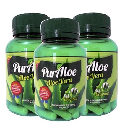 Aloe Vera Babosa Pura 30 cápsulas Kit com 3