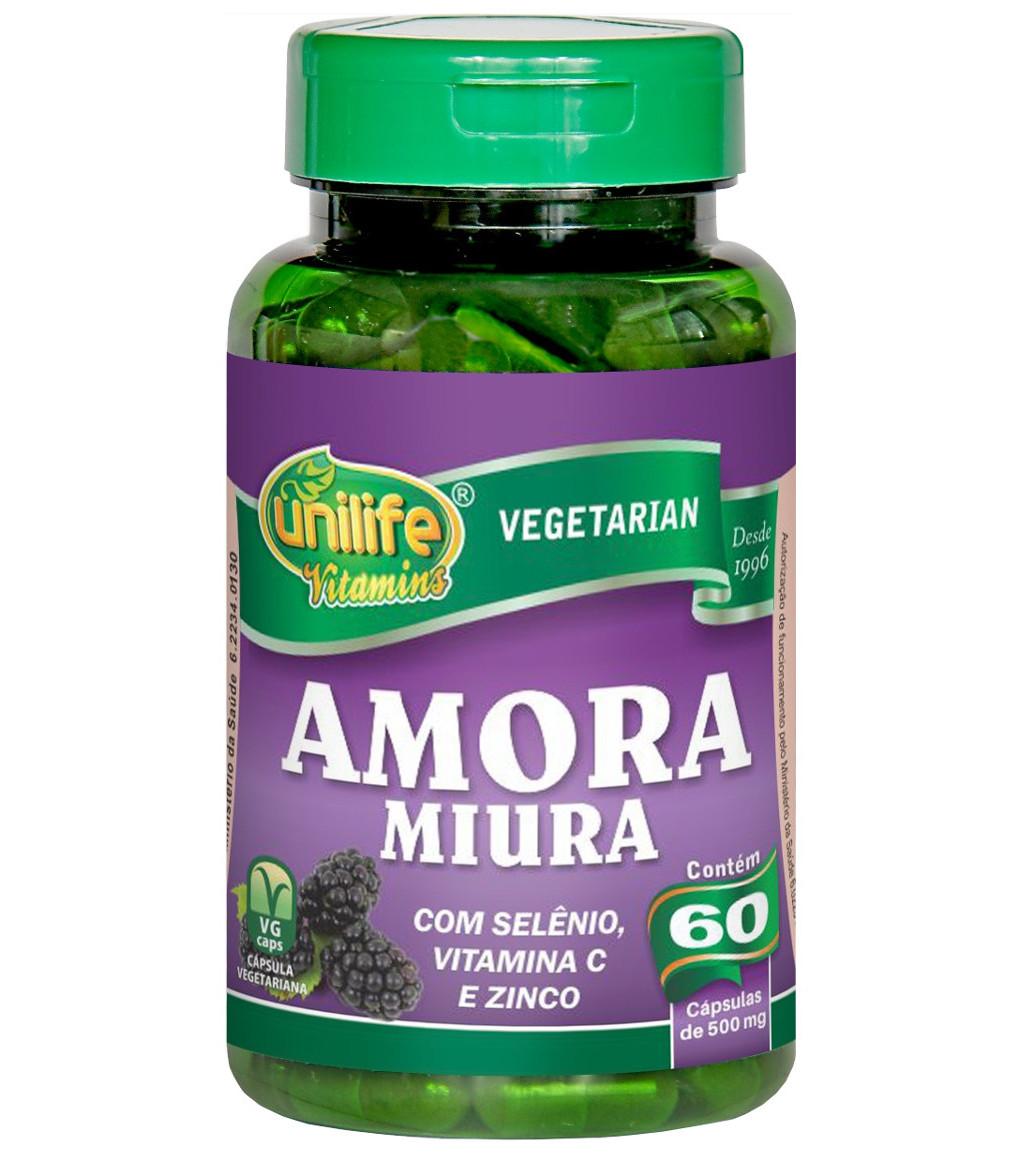 Amora Miura Selênio Vitamina C e Zinco 60 cápsulas de 500mg