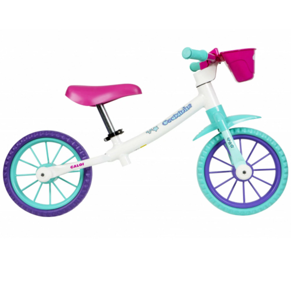 Bicicleta Aro 12 Balance Bike de Equilíbrio sem Pedal Feminina Cecizinha Caloi