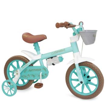 Bicicleta Aro 12 Infantil Feminina Antonella Verde Acqua Nathor