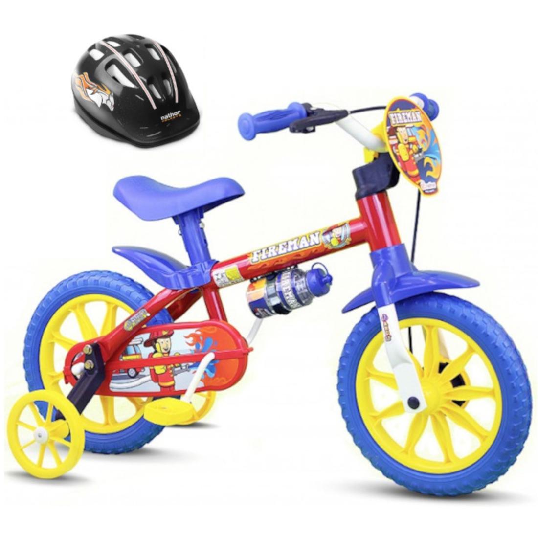 Bicicleta aro 12 Infantil Fireman Nathor Com Capacete Preto