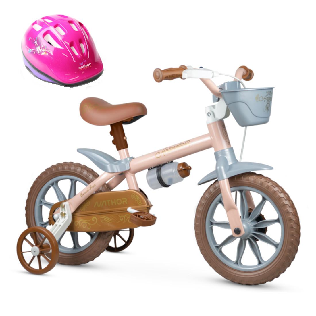 Bicicleta Aro 12 Infantil Menina Antonella Rosa Nathor com Capacete