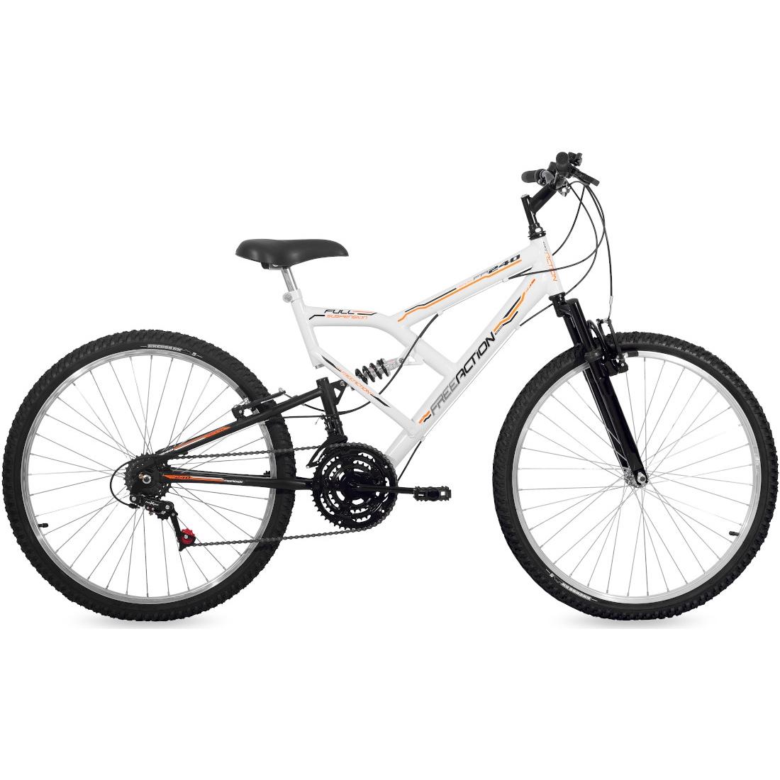 Bicicleta Aro 26 18 Marchas Full FA240  Branco e Preto Free Action