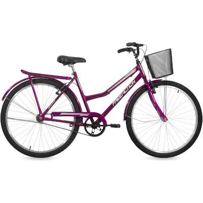 Bicicleta Aro 26 Freio na Mão com Cesta e Garupa Paradise Violeta Free Action