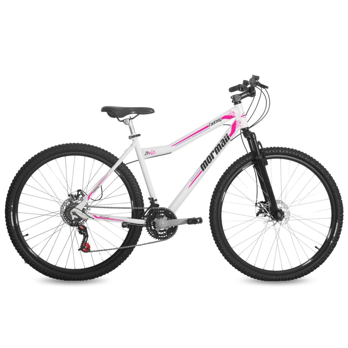 Bicicleta Aro 29 Feminina MTB 21V Freio a Disco Suspensão Fantasy Branca Mormaii