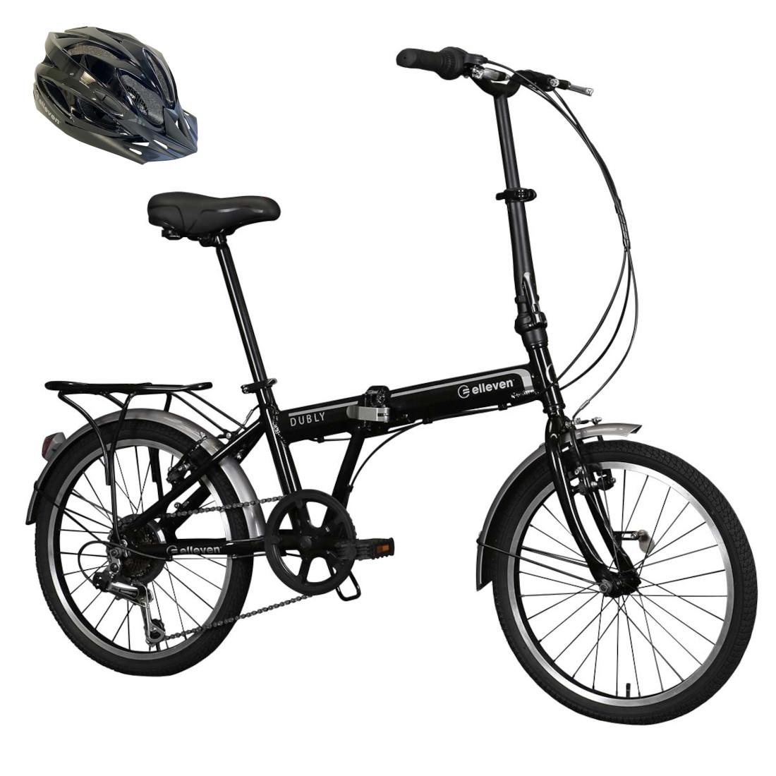 Bicicleta Dobrável em Alumínio Aro 20 6V Shimano Preto com Capacete