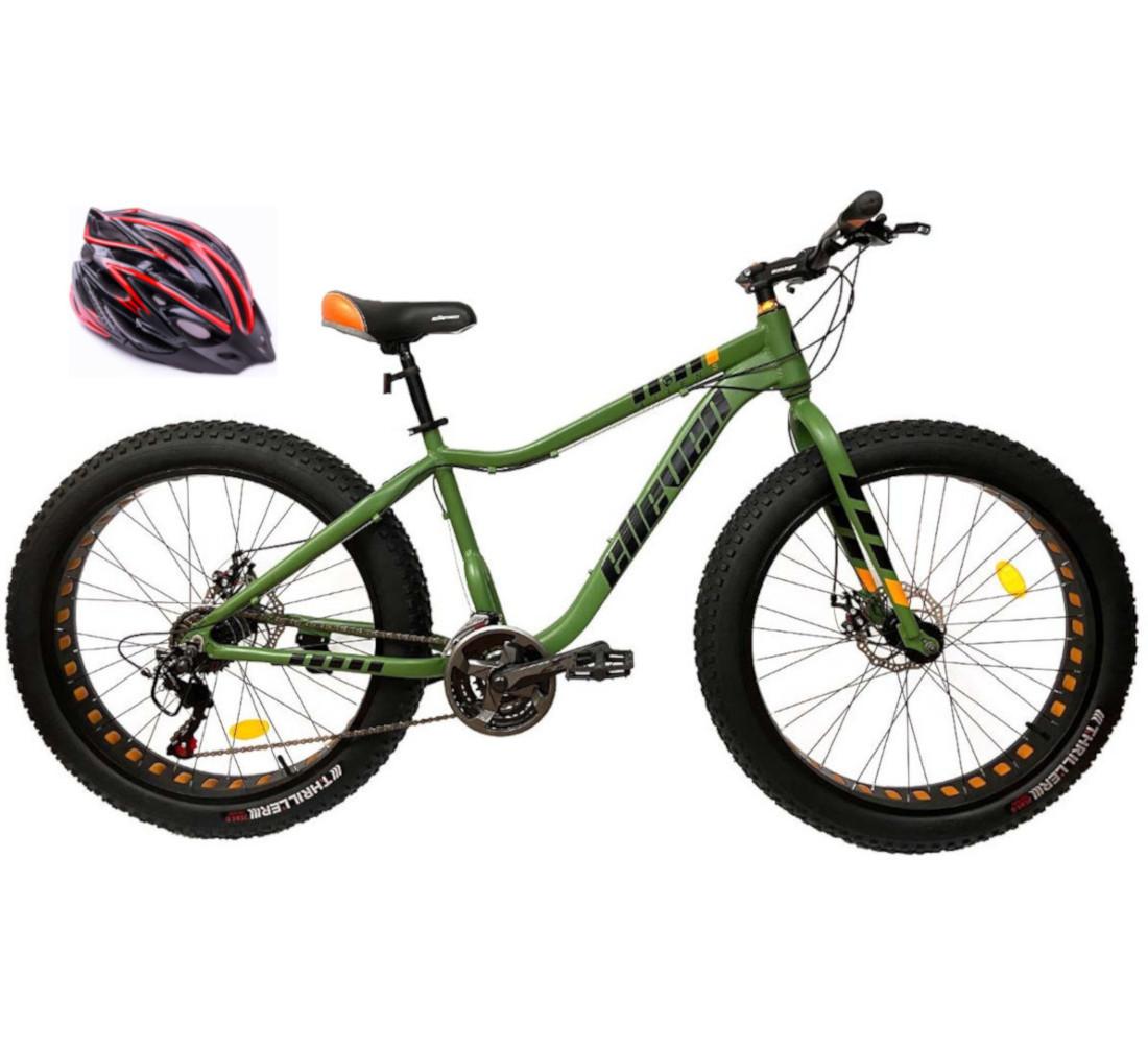 Bicicleta Fat Bike Pneu Largo  21V  Disco cor Verde com Capacete Genérico