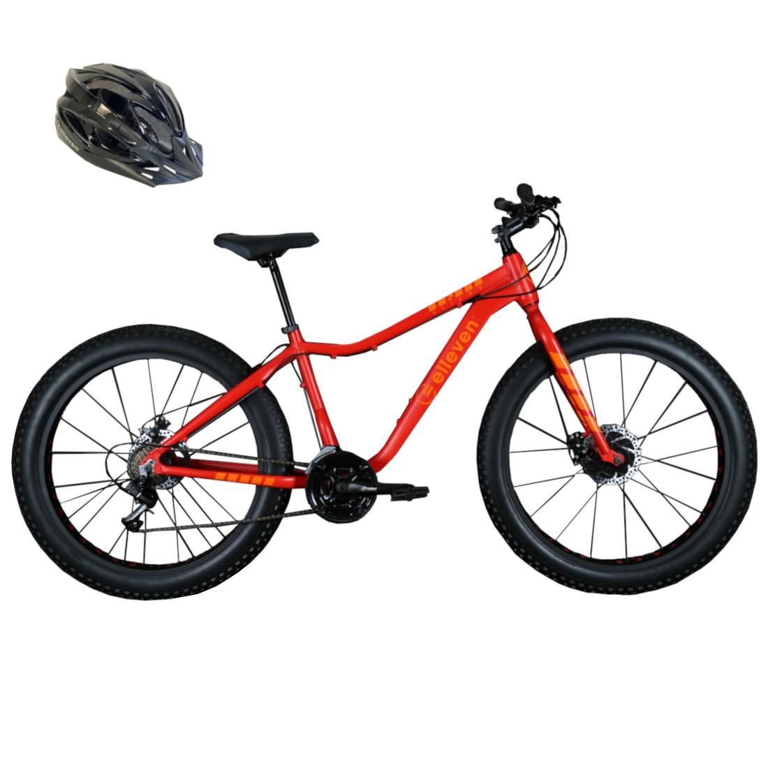Bicicleta Fat Bike Pneu Largo Aro 26 21V Laranja com Capacete