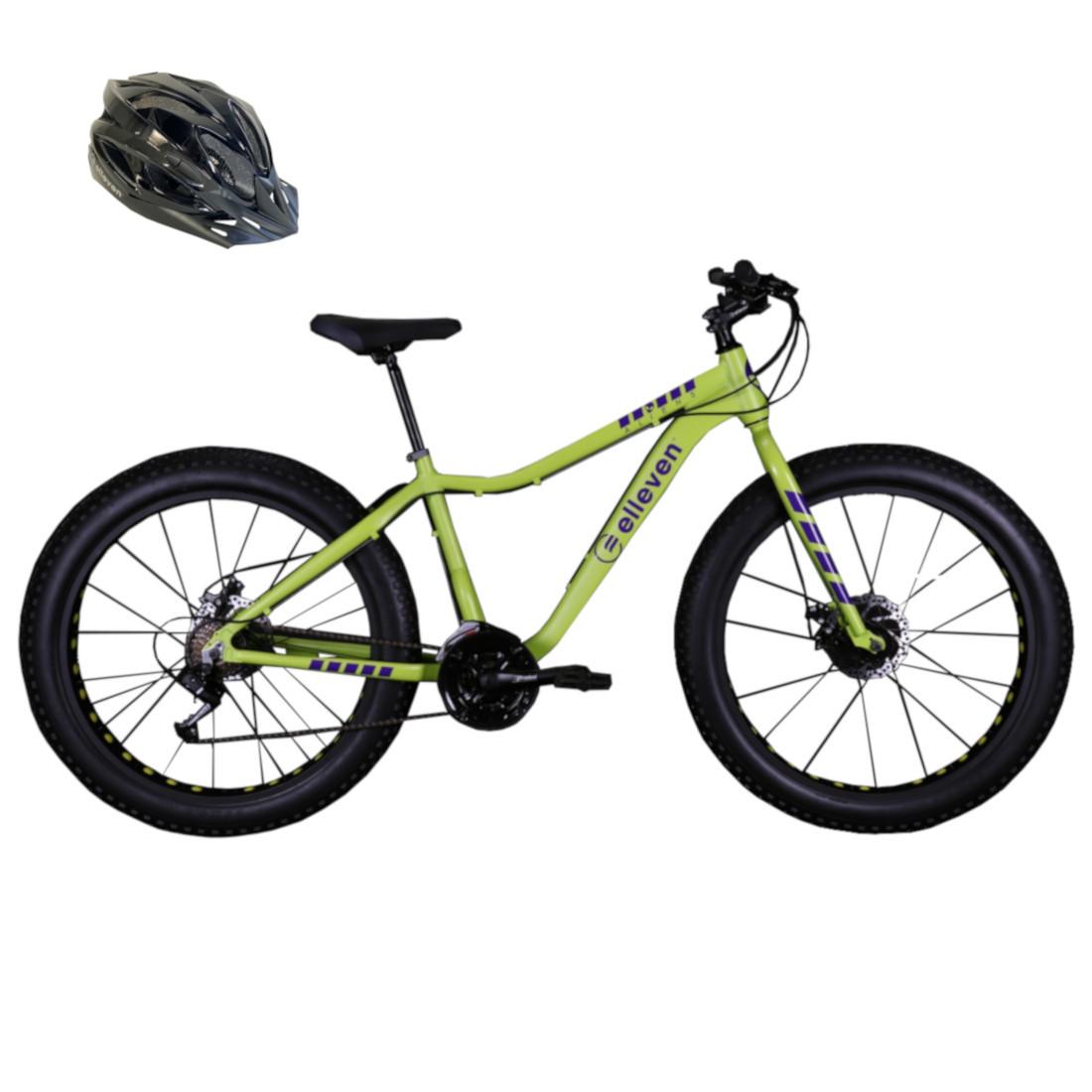 Bicicleta Fat Bike Pneu Largo Aro 26 21V Verde Oliva com Capacete G