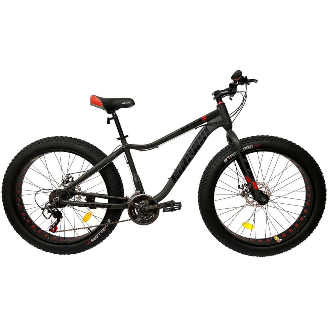 Bicicleta Fat Bike Pneu Largo Aro 26 Alumínio 21V Freio a Disco Cinza