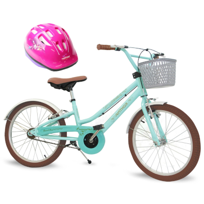 Bicicleta Feminina Aro 20 Antonella Verde Água com Capacete