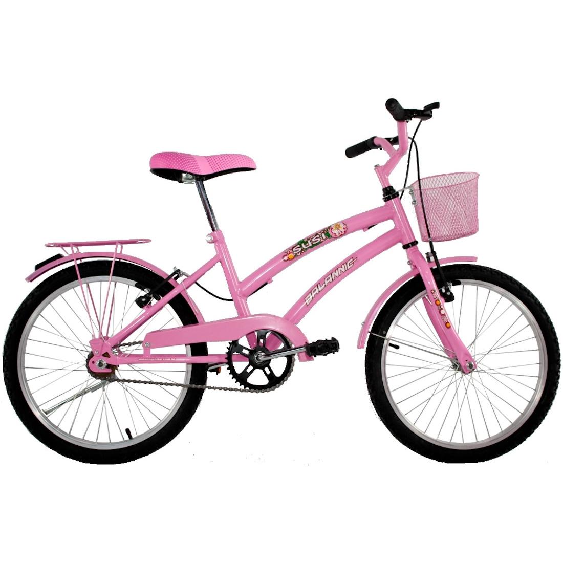 Bicicleta Feminina Aro 20 com cestinha Susi Rosa