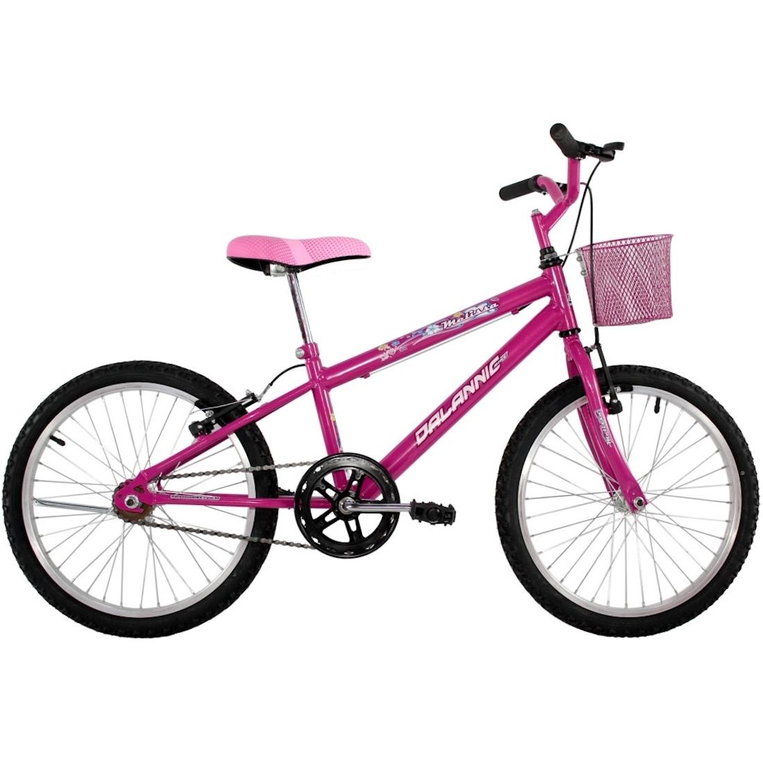 Bicicleta Feminina Aro 20 Melissa com Cestinha cor Pink