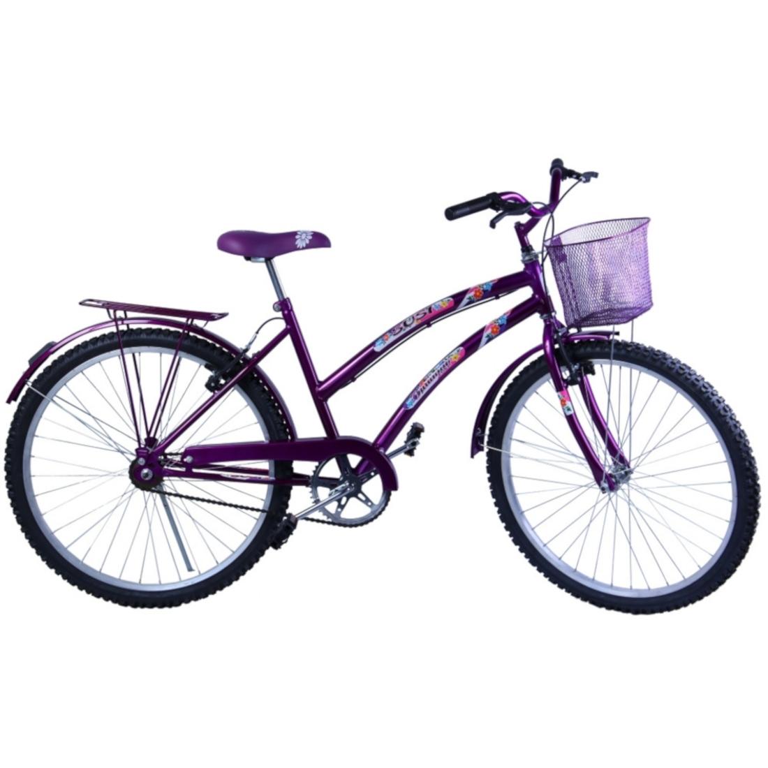 Bicicleta Feminina Aro 26 com cestinha Susi Violeta