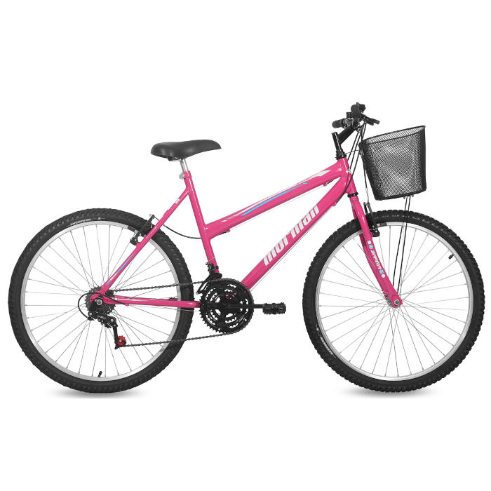 Bicicleta Feminina Aro 26 MTB Q19,5 Safira 18V com Cesta Mormaii