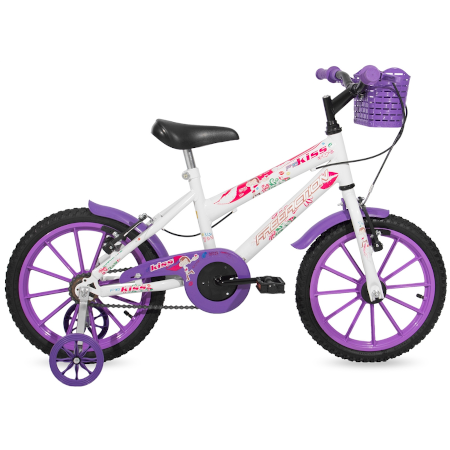 Bicicleta MTB Aro 16 Feminina KISS com cesta Free Action Branca e Violeta