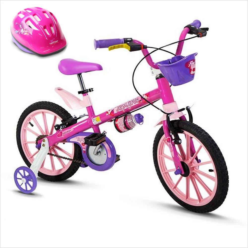 Bicicleta para menina Top Girls Aro 16 Nathor com Capacete Rosa