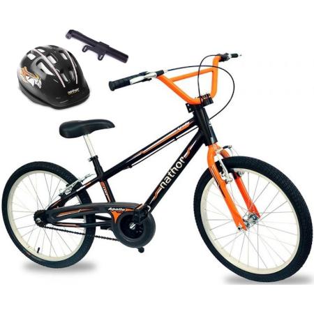 Bicicleta para meninos Aro 20 Apollo com Capacete Preto e Bomba de Ar