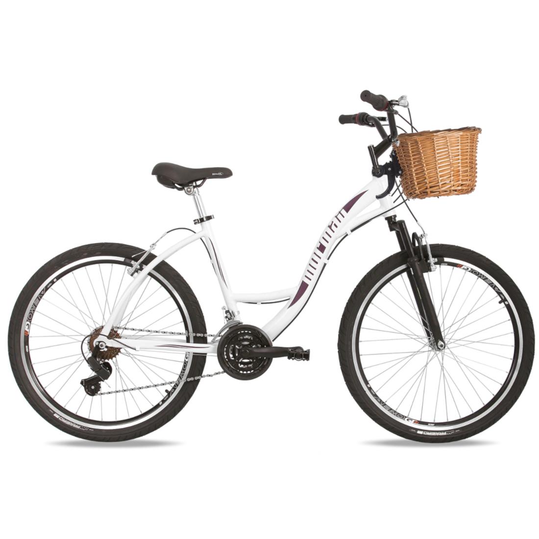 Bicicleta Passeio Aro 26 Alumínio 21V Suspensão Sunset Mormaii Cestinha de Vime