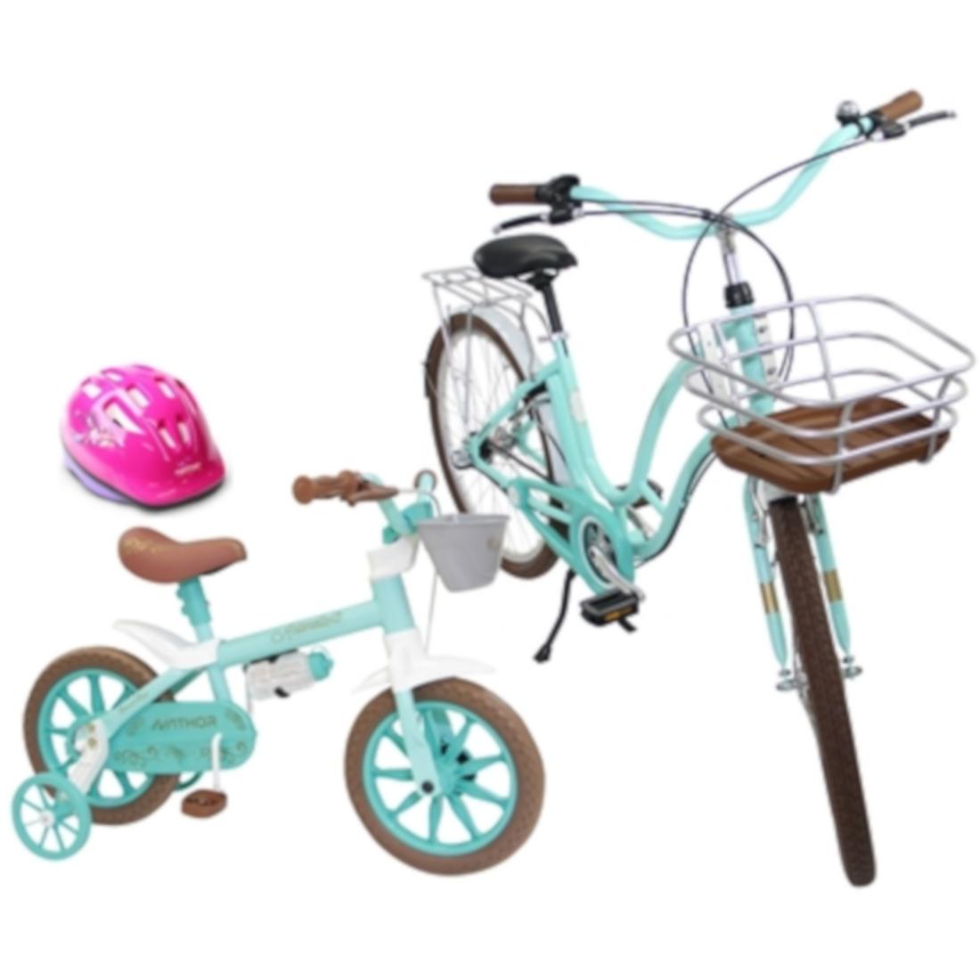 Bicicleta Retrô Antonella Aro 26 e Aro 12 com Capacete Kit Mãe e Filha