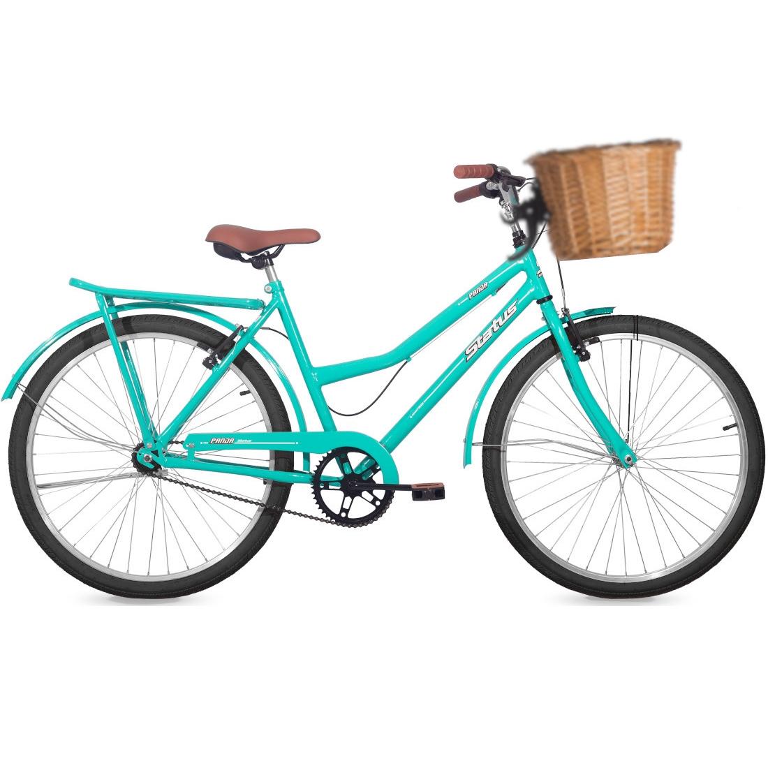 Bicicleta Retrô Aro 26 Freio V-Brake Panda Azul Tok Stok com Cestinha de Vime