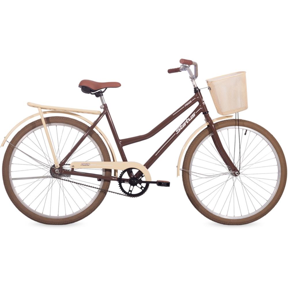 Bicicleta Retrô Vintage Aro 26 Contra Pedal Panda Marrom e Bege