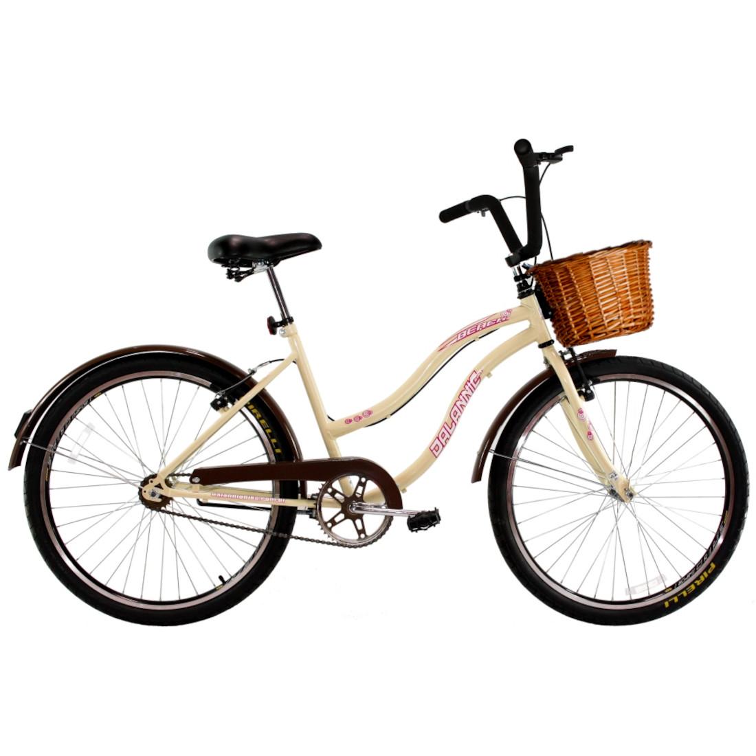 Bicicleta Retro Vintage Aro 26 Feminina Beach Bege com Cestinha