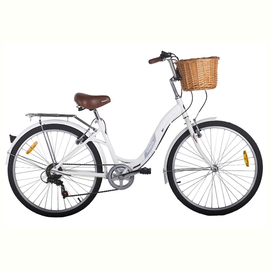 Bicicleta Vintage Retrô Aro 26 7V Branca Hit City Mobele com Cestinha