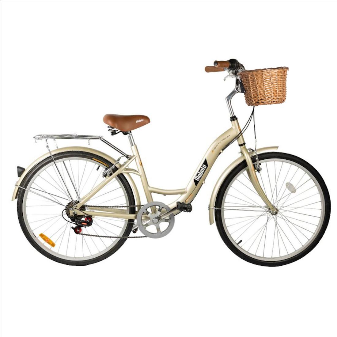 Bicicleta Vintage Retrô Aro 26 7V Champagne Hit City Mobele com Cestinha