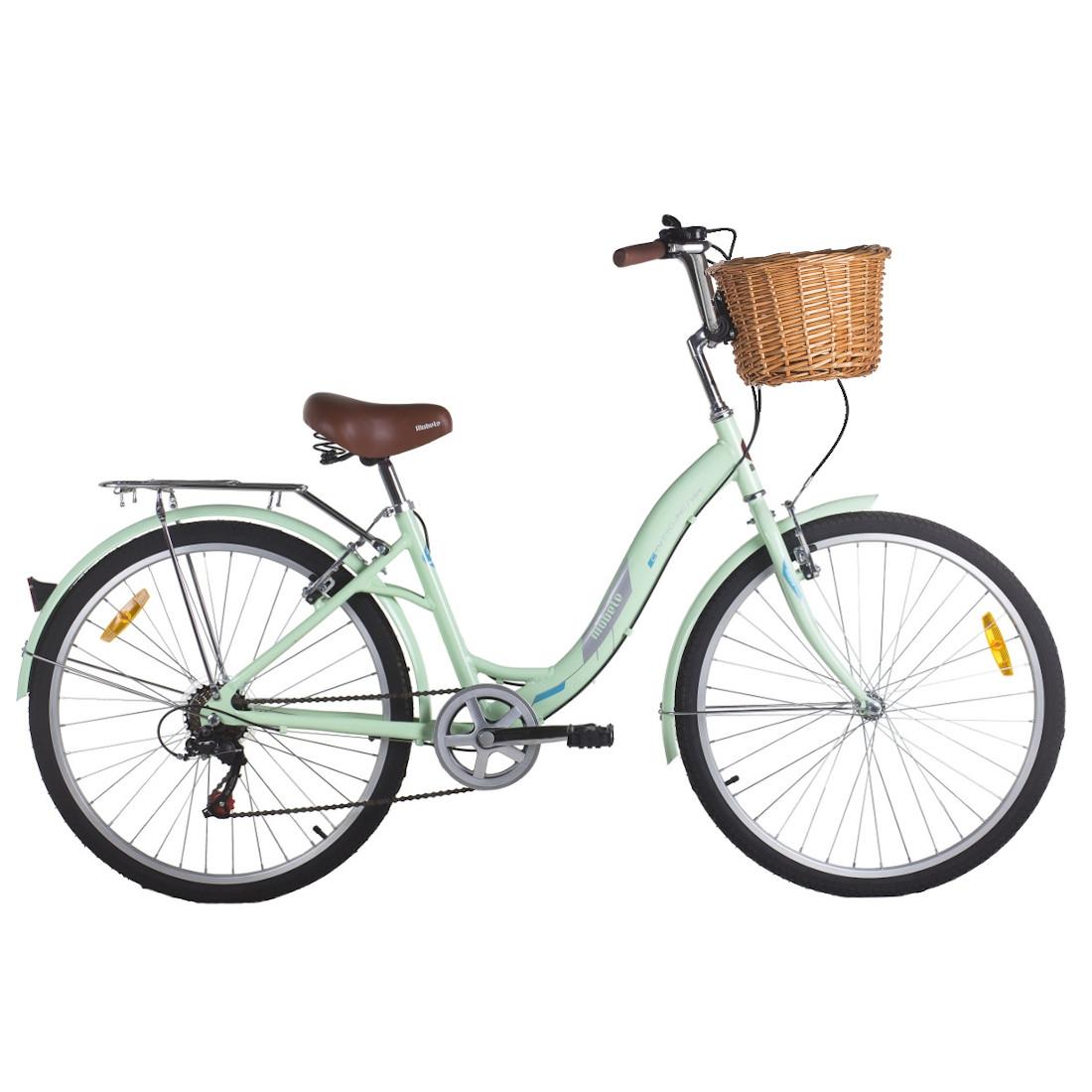 Bicicleta Vintage Retrô Aro 26 7V Verde Hit City Mobele com Cestinha