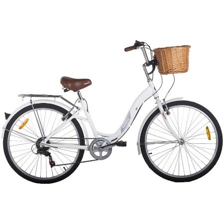 Bicicleta Vintage Retrô Hit Aro 26 7V Shimano Branca Mobele com cesta de Vime