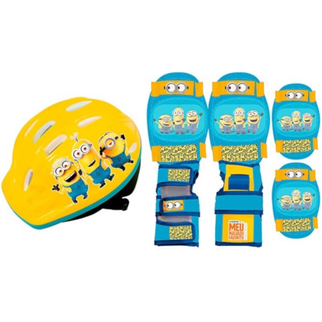 Capacete + Kit de Proteção Ajustável Infantil Minions
