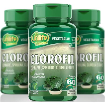 Clorofil Vegano Espinafre, Spirulina, Clorella e Couve 60 Cápsulas 500mg Kit com 3