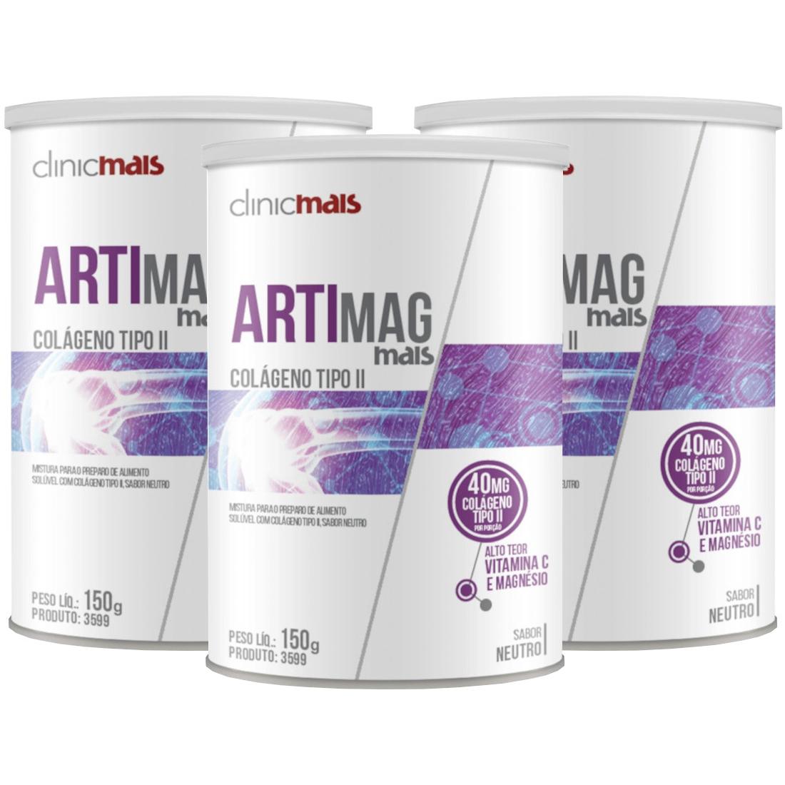 Colágeno Artimag Tipo II 40 mg por porção em Pó 150g Kit com 3