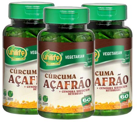 Cúrcuma Açafrão + Cenoura Urucum Beterraba 60 cápsulas de 500mg Kit com 3