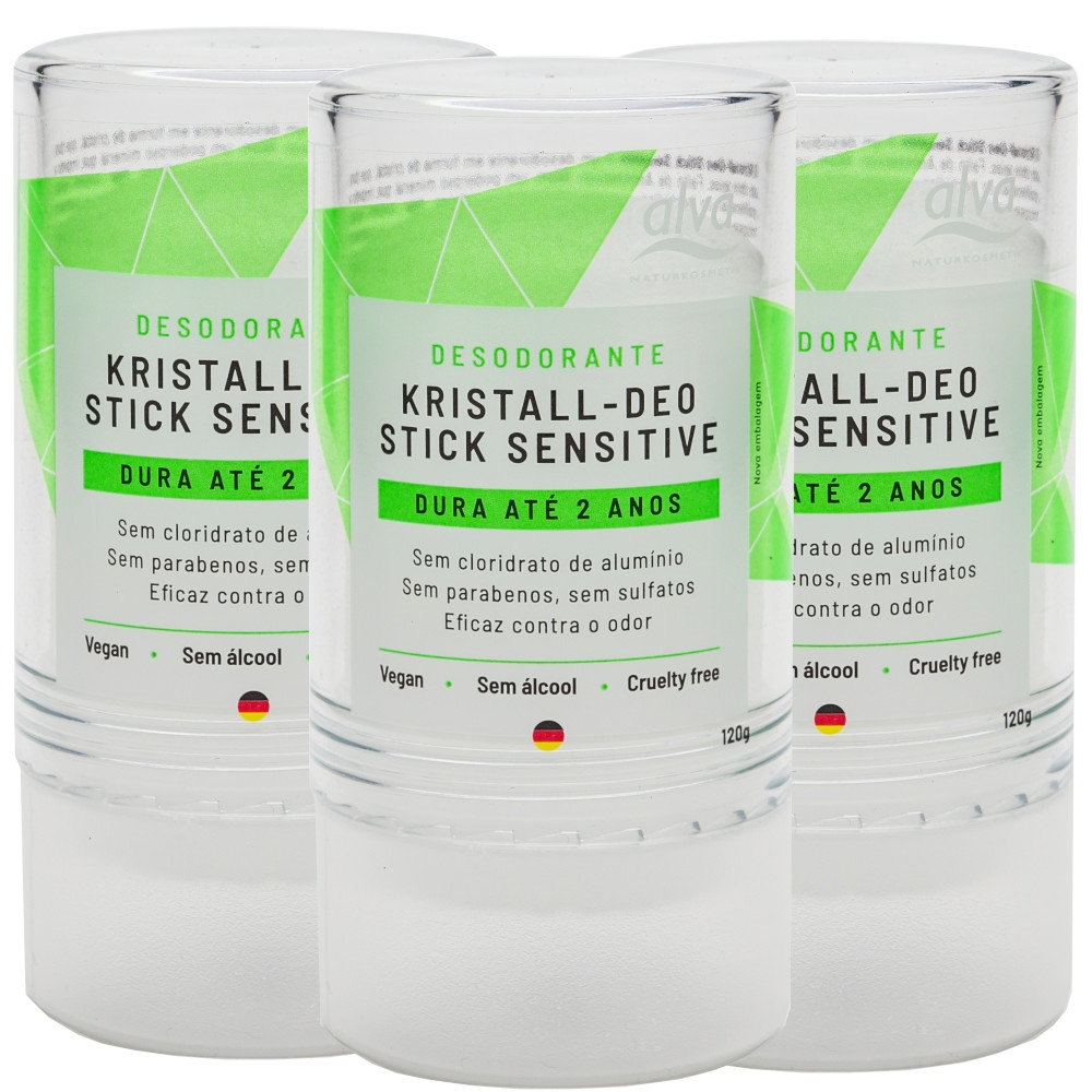 Desodorante Stick Kristall Sensitivo Vegano 120g Kit com 3
