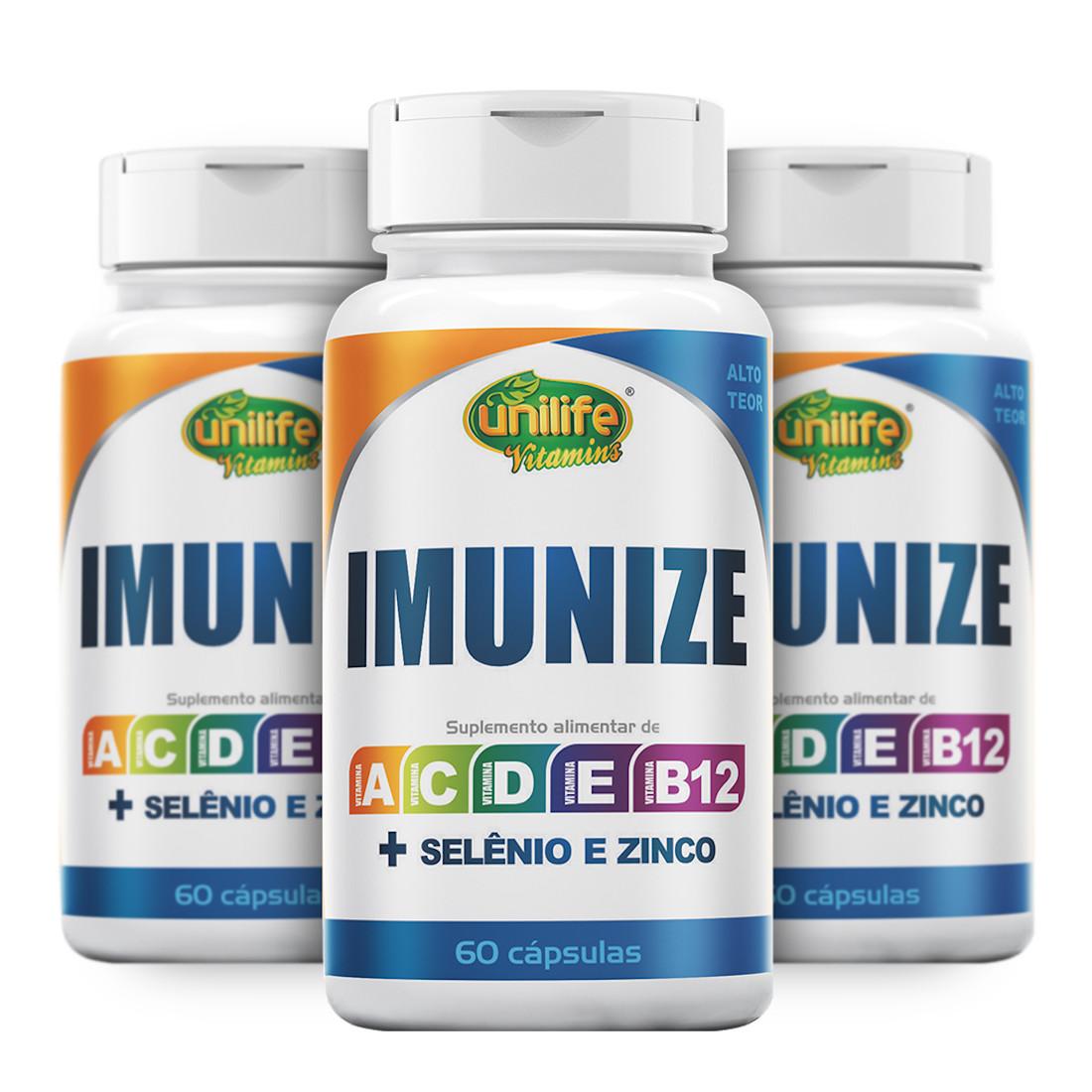 Imunize Selênio Zinco e Vitaminas A C D E B12 Alto Teor 60 cáps de 600mg Kit com 3