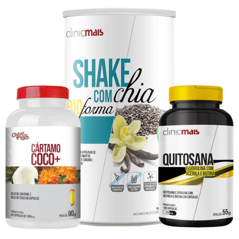 Kit de Emagrecimento Natural 3 em 1 Shake, Quitosana, Óleos de Cártamo e Coco