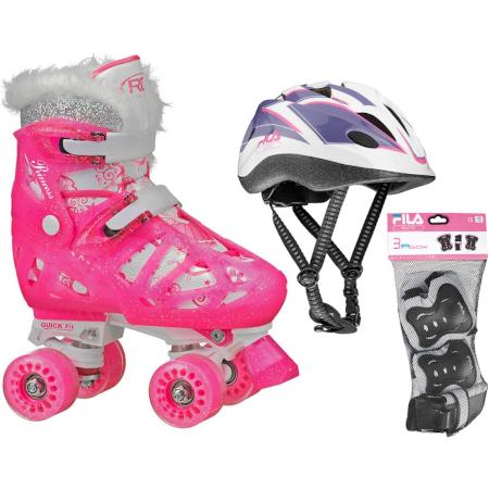 Kit Patins Princess Meninas Ajustável 32 a 36 Capacete e Kit de Proteção