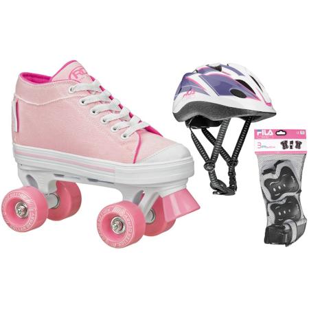 Kit Patins Zinger Girls Meninas 33/34 Capacete e Kit de Proteção