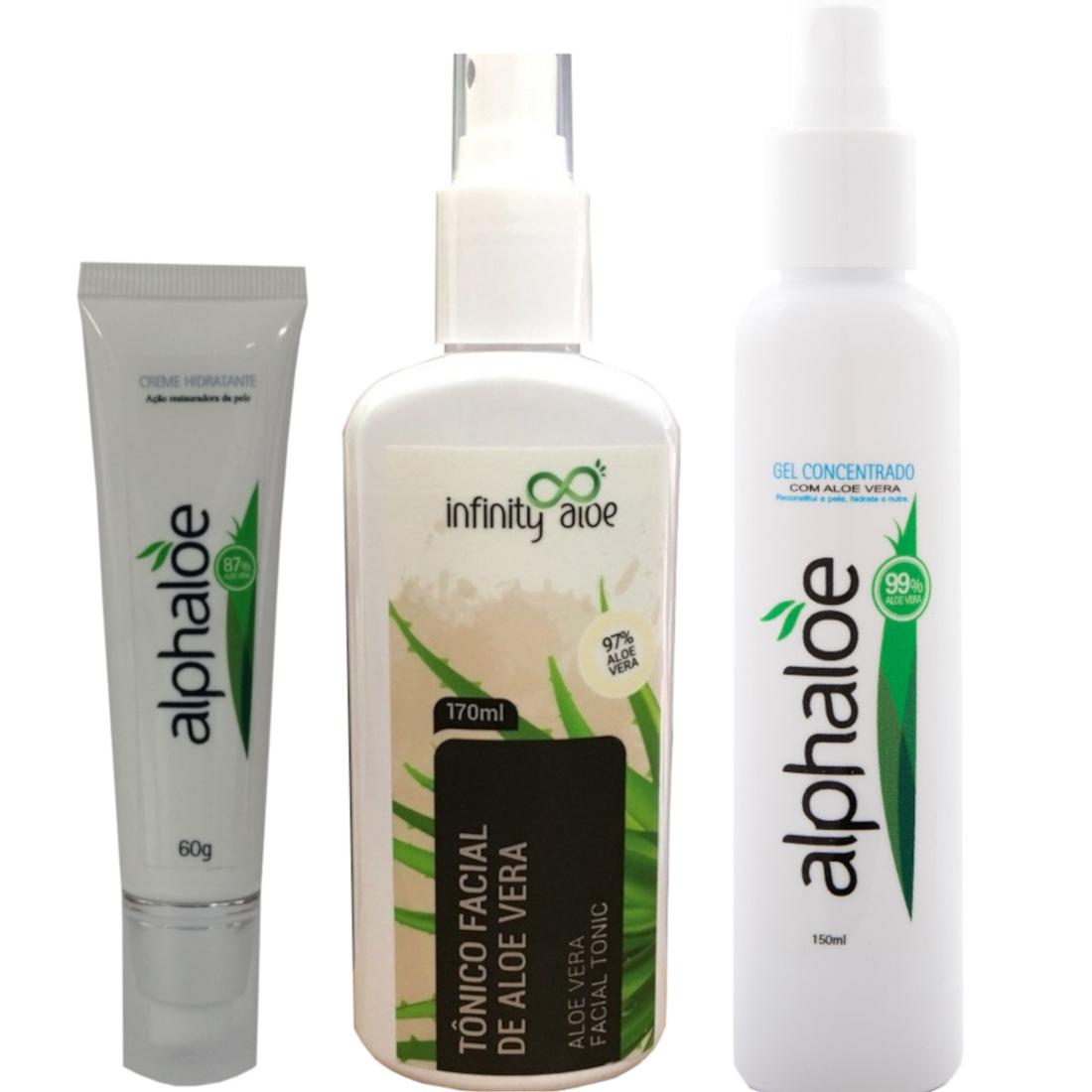Kit Tônico Facial de Babosa 170ml + Gel Concentrado com Aloe Vera 150ml + Creme Hidratante de Aloe Vera 87% de Babosa 60