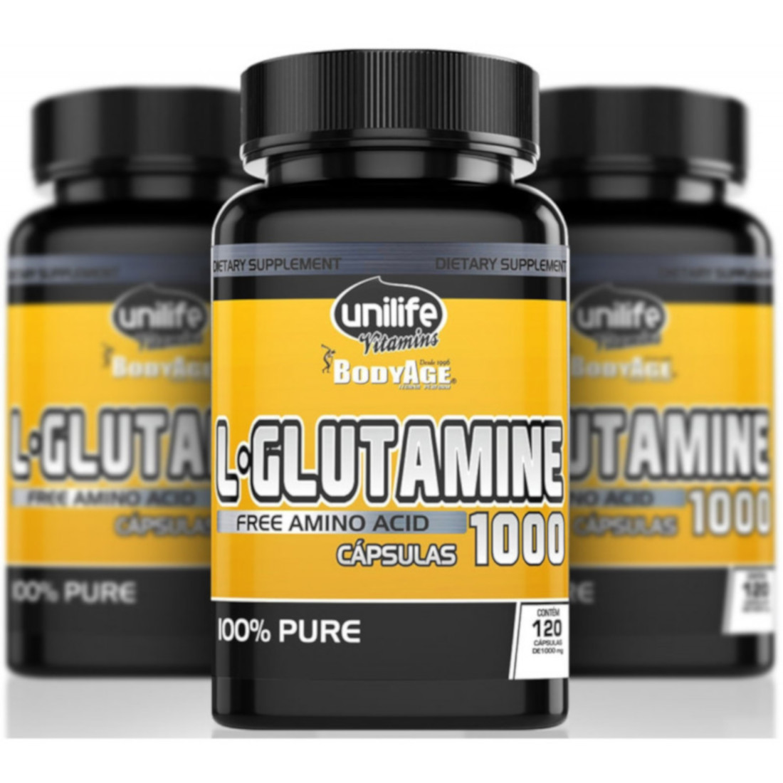 L-Glutamina Amino Ácido 120 Cápsulas de 1000mg Kit com 3