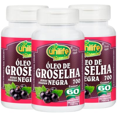 Óleo de Groselha Negra 60 cápsulas 700mg  Kit com 3